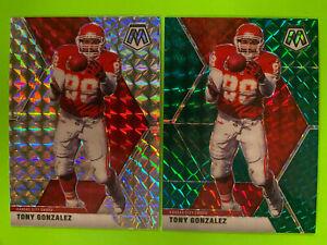 2020 Panini Mosaic Tony Gonzalez Prizm LOT (2) Silver & Green Mosaic Chiefs HOF