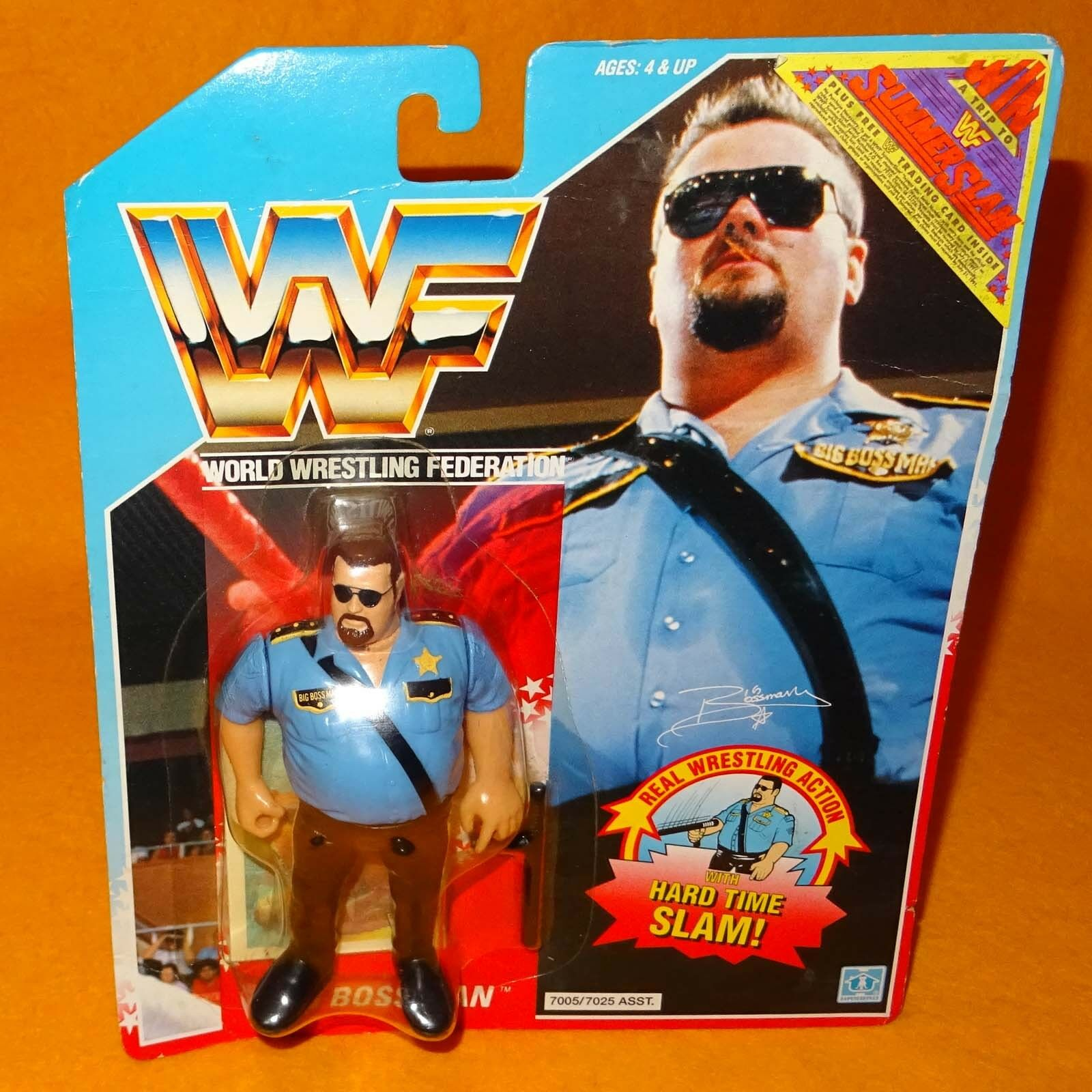 VINTAGE 1990 HASBRO WWF SERIES 1 BIG BOSS MAN FIGURE MOC CARDED SUMMERSLAM RARE