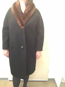 check out a9bcb 5fd08 Details zu Damen- Wollmantel mit Echtfellkragen Gr. 42- 44 schwarz braun