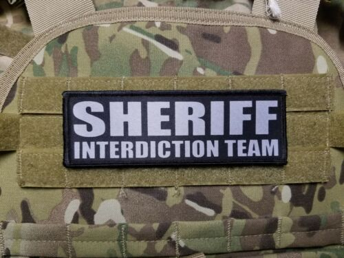 2x6 SHERIFF INTERDICTION TEAM Grey on Black Morale Plate Carrier Patch Hook