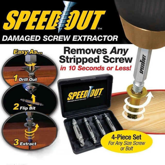 Broken Bolt Damage 4X Screw Remover Extractor Drill Bits Easy Out Stud Reverse