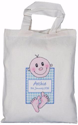 Boy  Birth Personalised Gingham Baby Medium Gift Bag Christening
