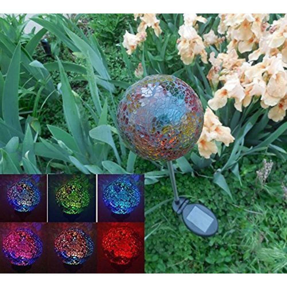 Globo LED Solar Decoración De Jardín Paisaje Al aire libre Luces Coloridas Estaca Luz