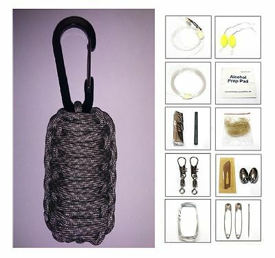 550 Paracord 20 Item Survival Pod Kit Tactical Pack Military Gear Various Colors