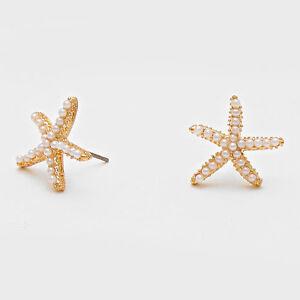 Starfish-Earrings-Pearls-Studs-GOLD-WHITE-3-4-034-Post-Nautical-Beach-Surf-Jewelry