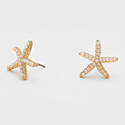 "Starfish Earrings Pearls Studs GOLD WHITE 3/4"" Post Nautical Beach Surf Jewelry"
