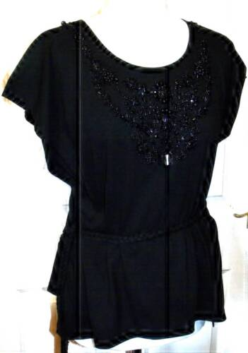 NEW MALVIN BLACK EMBELLISHED WRAP TIE TOP SIZE ONE SIZE FITS 10 12 14 #  627*