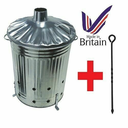Garden Burning Fire Incinerator Galvanised 90L Leaves Rubbish Bin Free Shovel