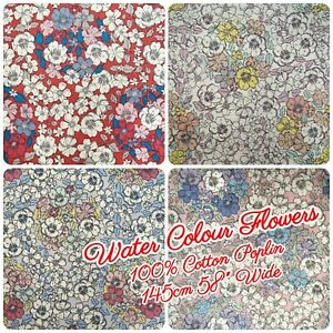 100-Cotton-Poplin-Fabric-Water-Colour-Flowers-Garden-Floral-145cm-58-034-Wide
