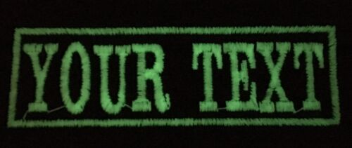 Glow In The Dark Personalised Name Patch Text Badges Sew On Iron On Twill Felt