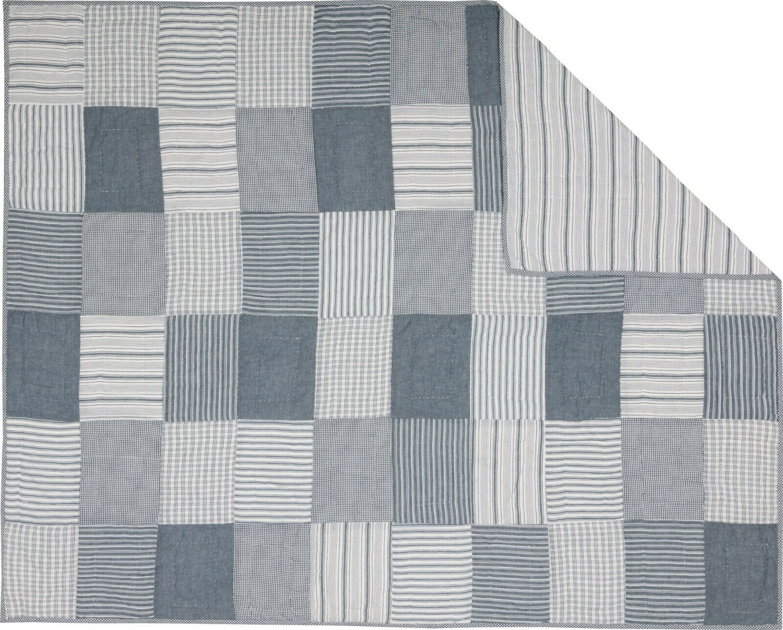 bluee Patchwork Throw Stripe Reversible Farmhouse Sawyer Mill Hanging Option