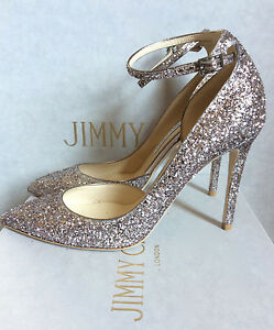 Image Is Loading Jimmy Choo Romy Rosa Pale Pink Glitter Pumps