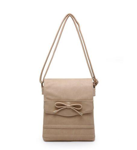 New Women/'s Girls Lovely Flap Over Messenger Bag//Cross Body Bag With Bow Detail