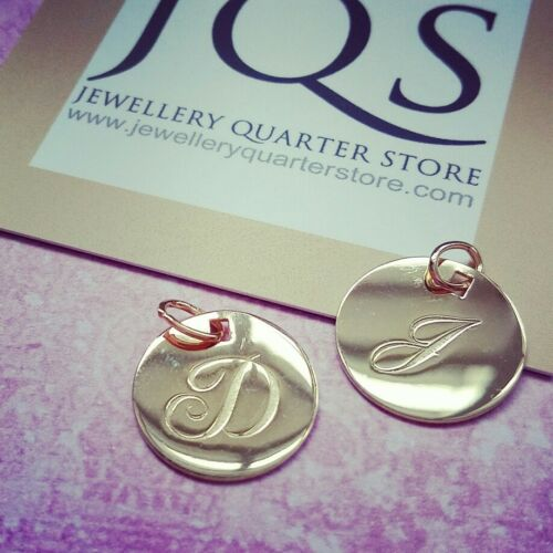 A-Y available 9ct Yellow Gold Engraved Initial 18mm Disc Pendants Gift Boxed