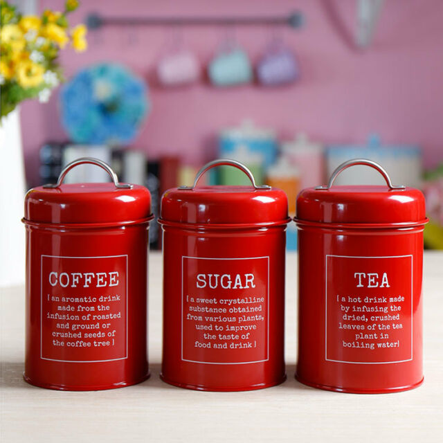 X021 Set 3 Red Kitchen Food Storage Canister Coffee Sugar Container Tea Jar Lid