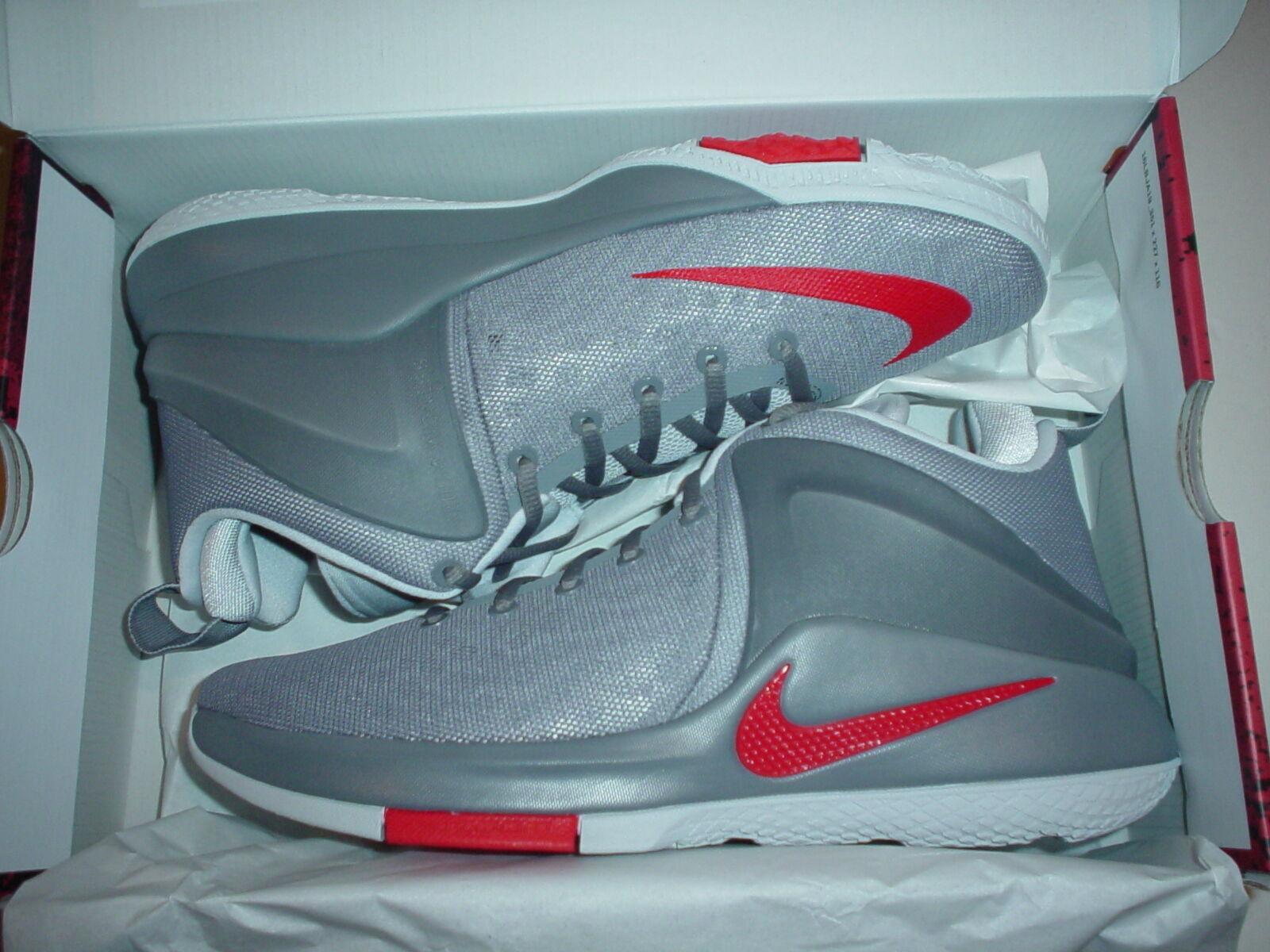 Nike Zoom Witness COOL GREY/RED Lebron James Basketball 10.5 Shoes  NIB
