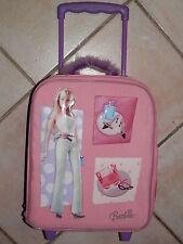 vecchio TROLLEY di BARBIE valigia da viaggio borsa con disegni a rilievo abiti
