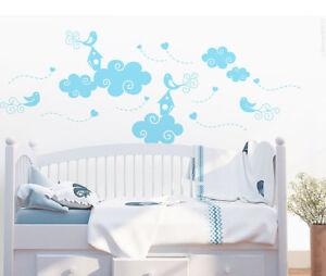 Details zu Wandtattoo Wolken mit Vögeln Kinderzimmer Wandbild Wandsticker  Baby Deko j10a