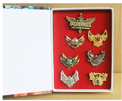 7pcs LOL League of Legends Badges Pins Collection In Stylish Box Cosplay Rare!