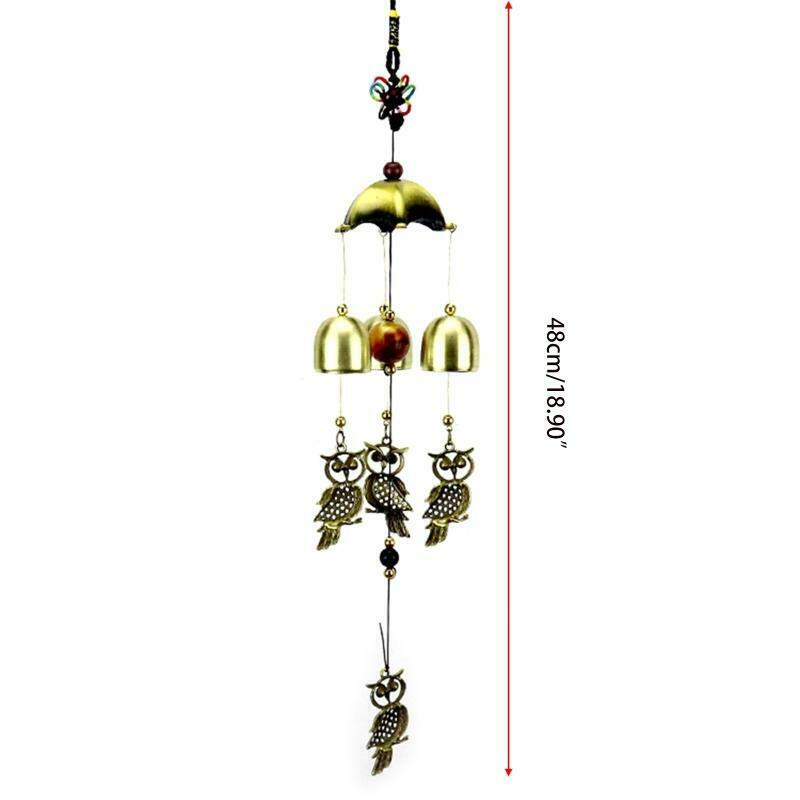 Wind Chime Vintage Owl Bells Windchime Hanging Decoration Home Outdoor Yard Wall
