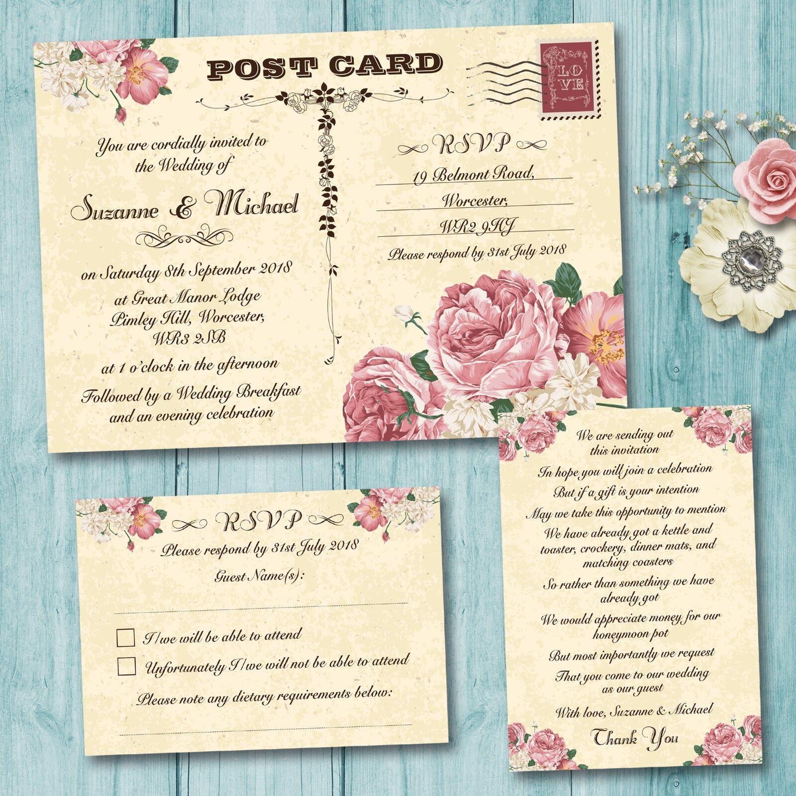 Day or Evening Wedding Invitation, RSVP Card, Gift Poem, Vintage ...