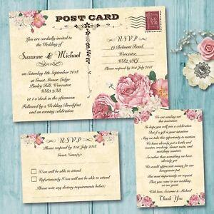 Day Or Evening Wedding Invitation Rsvp Card Gift Poem Vintage