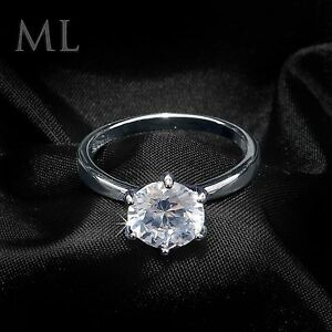 Women s 2 CT Carat Engagement RING ROUND CUT White Gold Plated SIZE ... 2ded0950ee