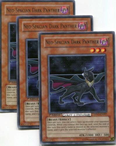 3 X YU-GI-OH NEO-SPACIAN DARK PANTHER 1ST ED SILVER RARE N//MINT DP03-EN007