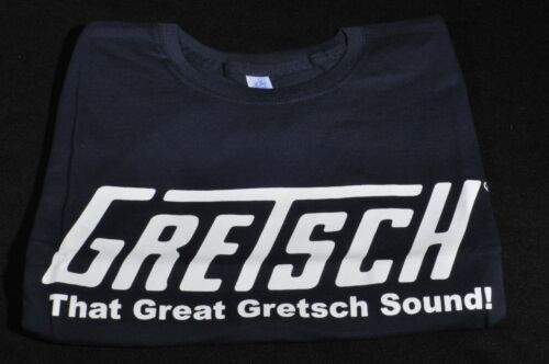 """GRETSCH /""""THAT GREAT GRETSCH SOUND/"""" TEE SHIRT SMALL NAVY BLUE"""