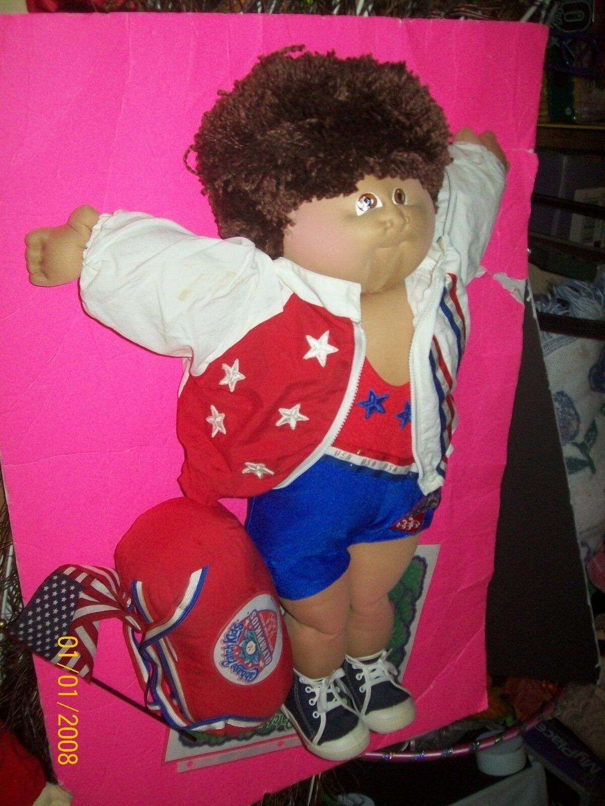 Escultura blanda niños luchador olímpico Muñeca Cabbage Patch Niño Raro firmados
