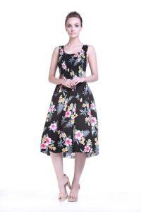 Hawaiian Luau Dress Cruise Elastic Top Strap Party Floral Black Floral and Palm