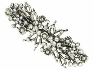 Antique-Vintage-Silver-Floral-Crystal-Barrette-Bridal-Hair-Clip-Slide-Grip