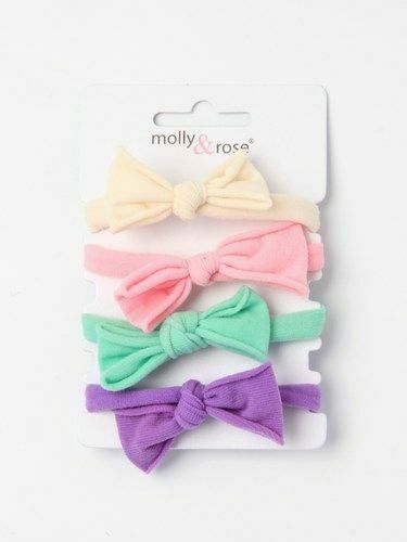 New Pack of 4 Endless hair band Elastics with Bow Pink Purple Cream Green