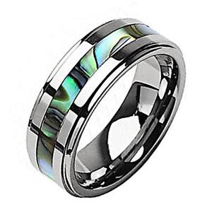 Stunning-Silver-Tungsten-Wedding-Band-with-an-Abalone-Inlay-in-6-or-8mm-widths
