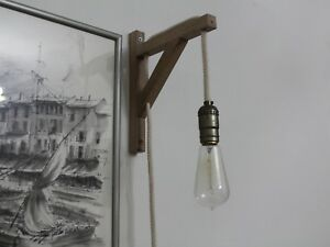 Details About Rustic Wall Sconce Wood Lamp Lighting With Rope Light Fixture