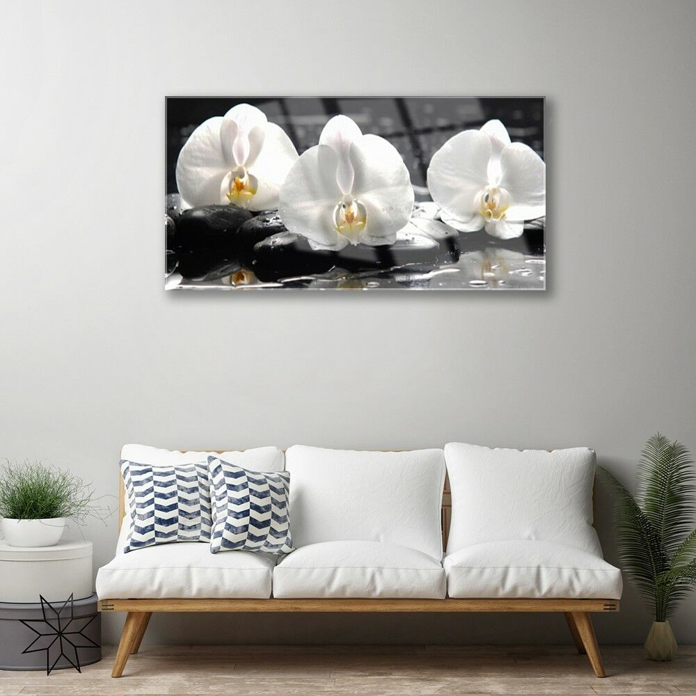 Glass print Wall art 100x50 Image Picture Flower Flower Flower Stones Floral b12bb9