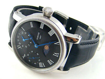 42mm Parnis Luxury Black Dial Leather Hand Winding Movement Men's Watch