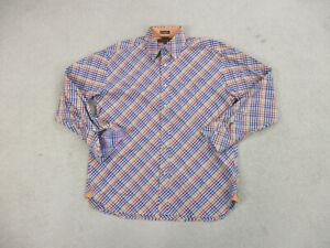 Tommy Hilfiger Shirt Adult Large Blue Orange Plaid Button Up Long Sleeve Mens