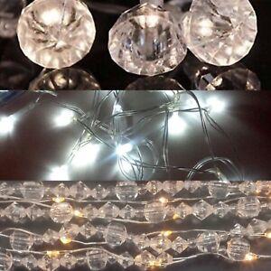 Image Is Loading Xmas Crystal Gem Jewel Diamond Light Garland Fairy