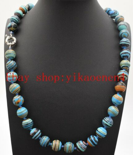 """Natural 10mm Round Blue Striped Turquoise Gemstone Beads Necklace 18/"""" AAA"""