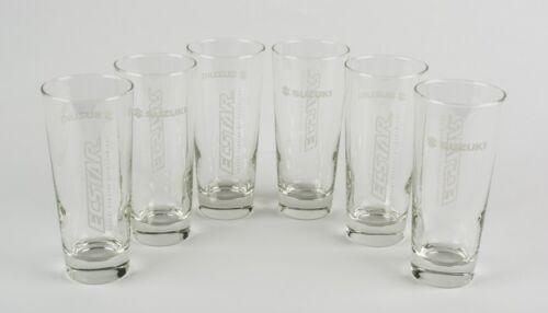 Suzuki Genuine Ecstar Logo Clear Long Drink Glasses Set of 6 990F0-ECGS1-000