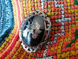 Antique 1920's Siam Sterling Silver & Black Enameled Brooch …beautiful collectio