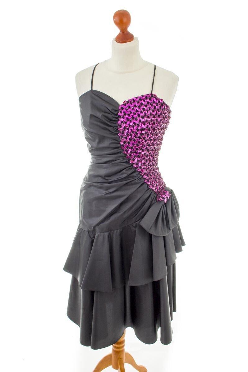 Vintage Partykleid black pink Pailletten Abendkleid 80er Disco 36 38
