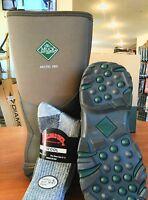 Muck Hunting Boot Arctic Pro Free Rail Road Socks, Bark Men's Size 9 Women's 10