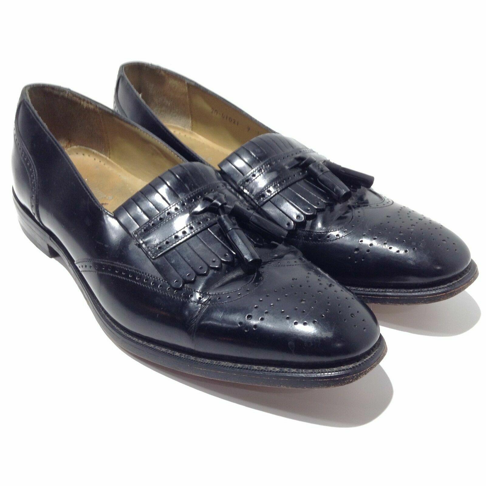J. MURPHY Men's Slip On Dress Shoes Tassel Loafers 9N Black Leather 20-41021