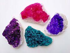 4 x Quartz Dyed Crystal Geode Cluster Druzy - Healing Gemstones - Reiki Blessed