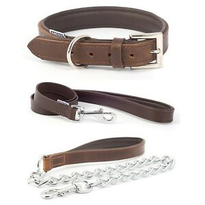 9b5f1809e Image is loading Ancol-Vintage-Chestnut-Leather-Padded-Dog-Collar-Chain-