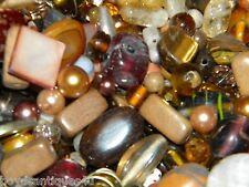 NEW 1/2 Lb. TAN/BROWN 6-15mm LOOSE BEADS LOT Pearls, Glass, Gem, Stone (USA)