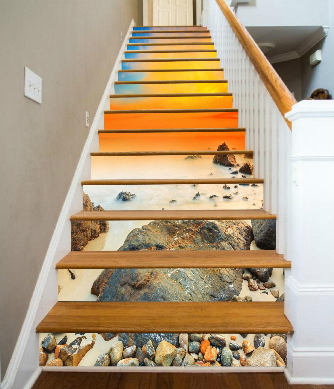 3D Stein Meer 756 Stair Risers Dekoration Fototapete Vinyl Aufkleber Tapete DE
