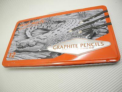 12Pcs Mont Marte Graphite Pencils Set w/ Box 2H,H,F,HB,B,2B,3B,4B,5B,6B,7B,8B